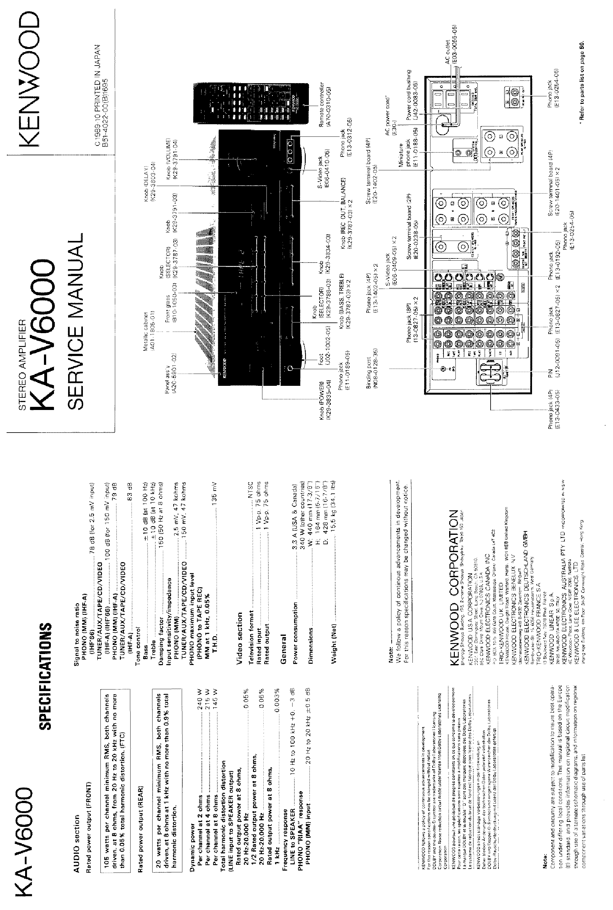 KENWOOD KA-V6000 SM service manual