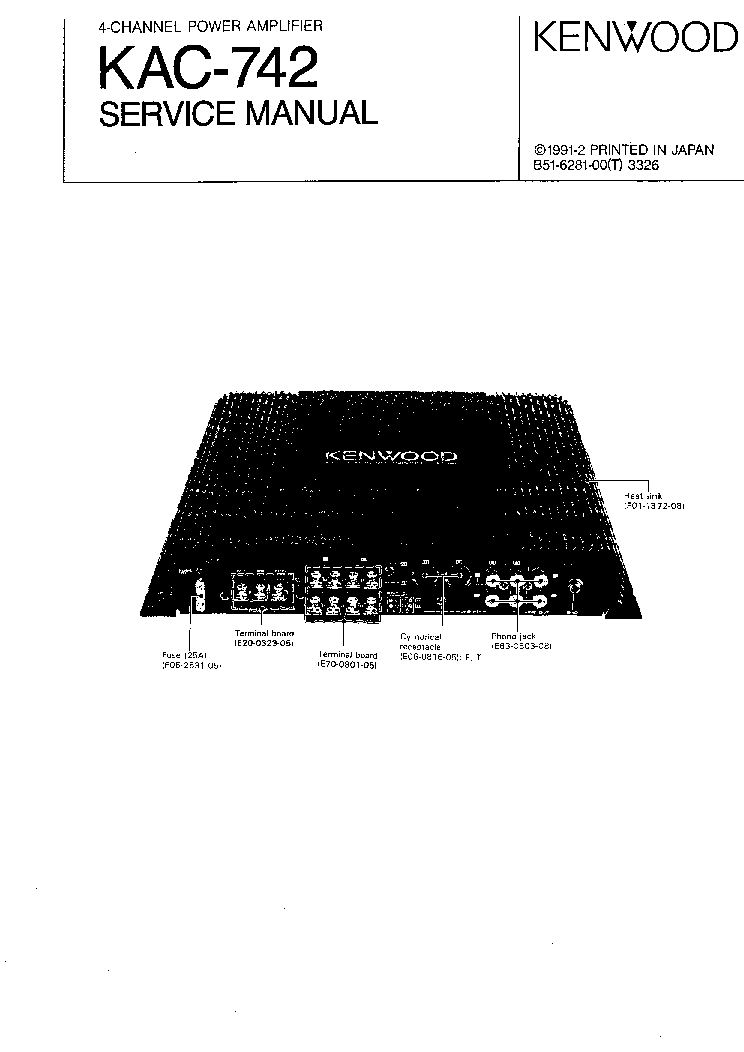 KENWOOD KAC-742 service manual