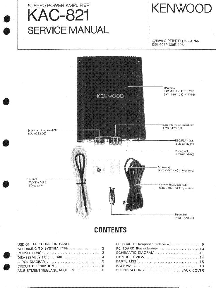 Kenwood Stereo Amplifier KAC-8User Guide m