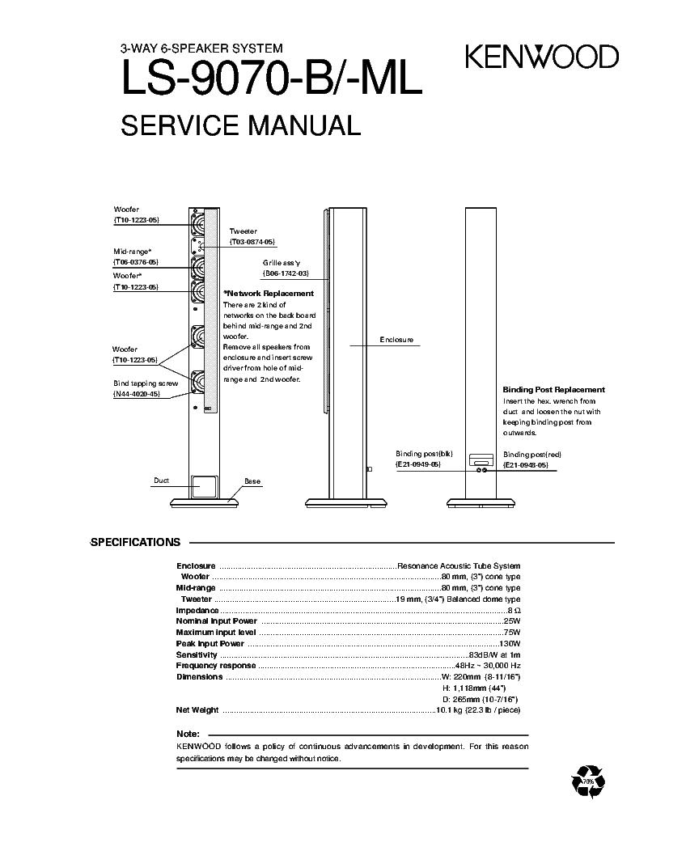 KENWOOD LS-9070-B SPEAKER SYSTEM PARTS service manual (1st page)