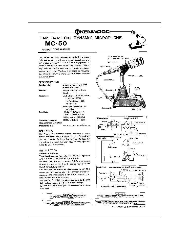[SCHEMATICS_48EU]  KENWOOD TRIO MC-50 HAM CARDIOID DYNAMIC MICROPHONE Service Manual download,  schematics, eeprom, repair info for electronics experts | Kenwood Mc 50 Wiring Diagram |  | Elektrotanya