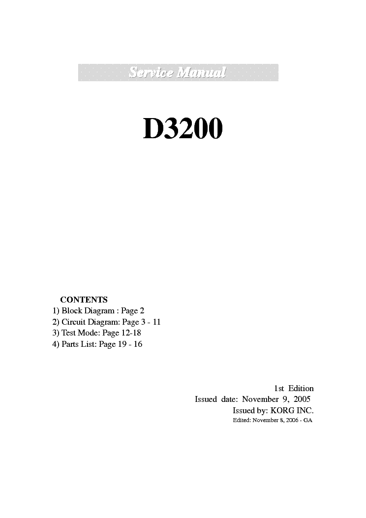 KORG D3200 service manual (1st page)
