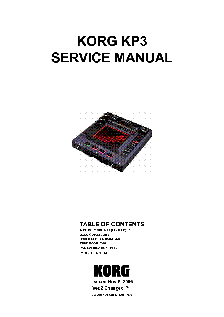 KORG KP3 SM VER2A KAOSS PAD DYNAMIC EFFECTS SAMPLER service manual (1st page)