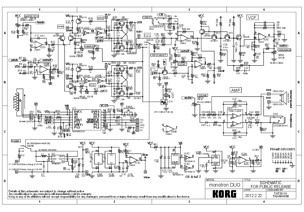 KORG MONOTRON DUO service manual (1st page)