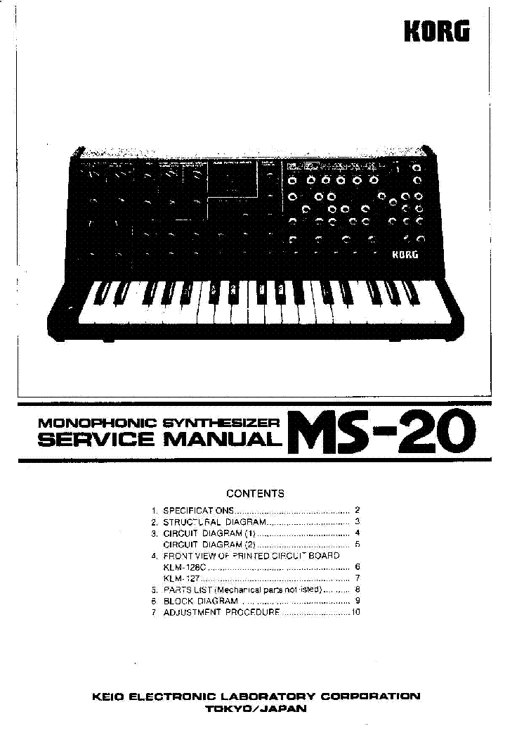 KORG MS-20 service manual (1st page)