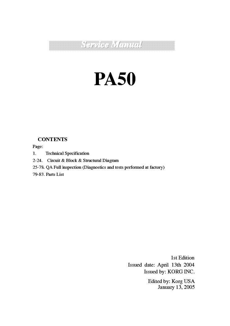 Excellent Korg Pa50 Sm Service Manual Download Schematics Eeprom Repair Wiring Database Wedabyuccorg