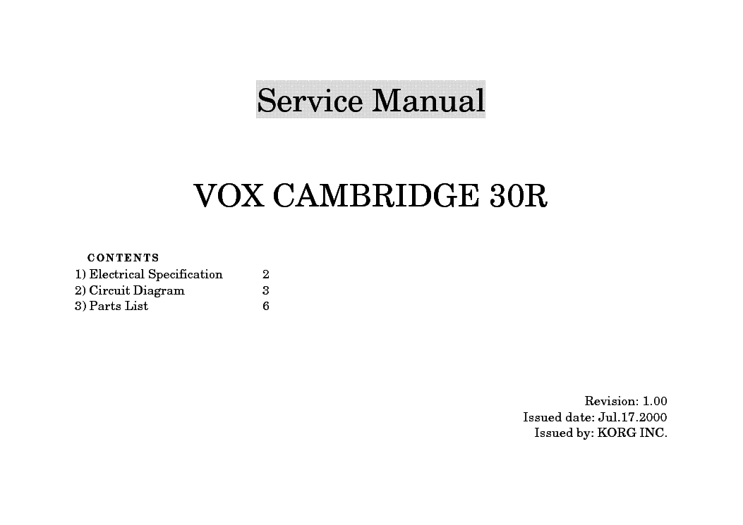 KORG VOX CAMBRIDGE 30R SCH service manual (1st page)