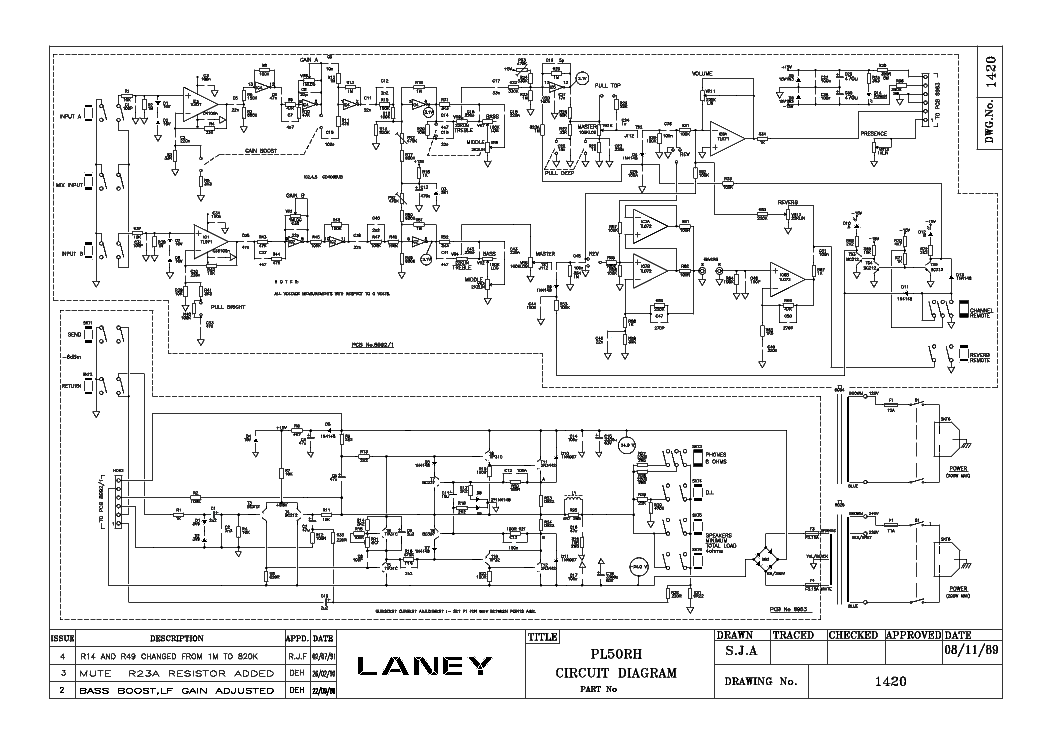 LANEY PL50RH SCHEMATIC Service Manual download, schematics, eeprom