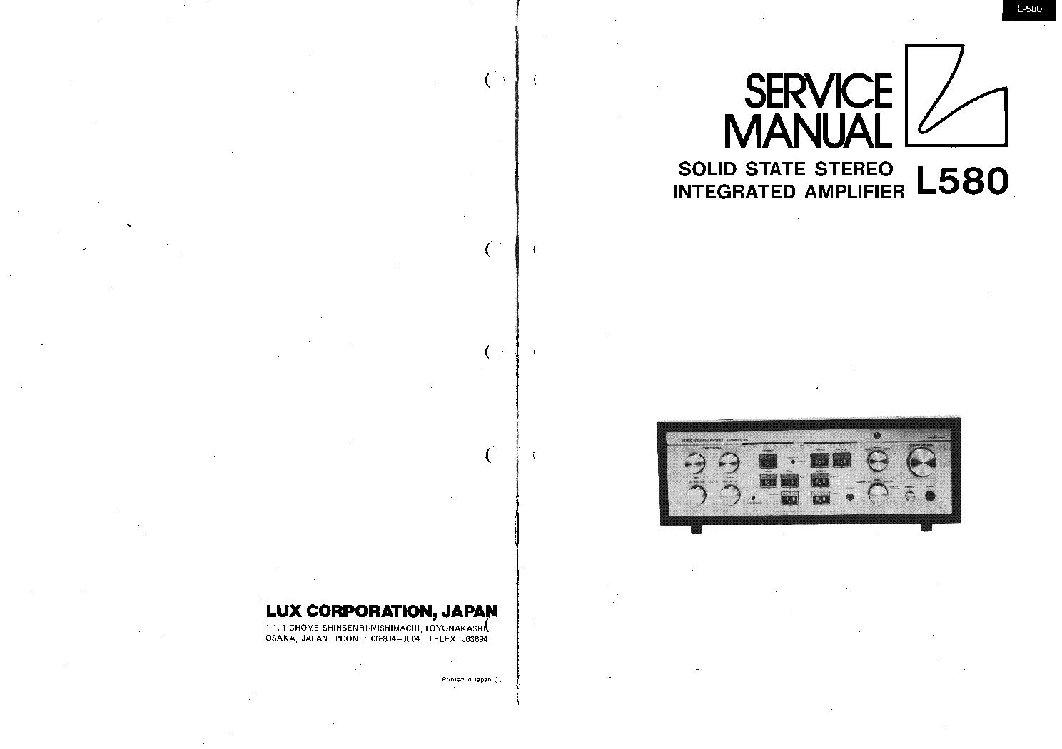 LUXMAN L-580 AMPLIFIER SM service manual (1st page)