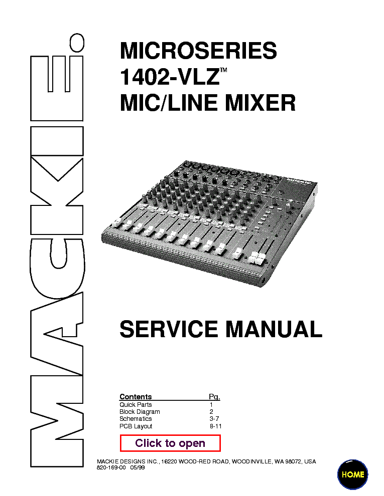 MACKIE 1402-VLZ MIXER service manual