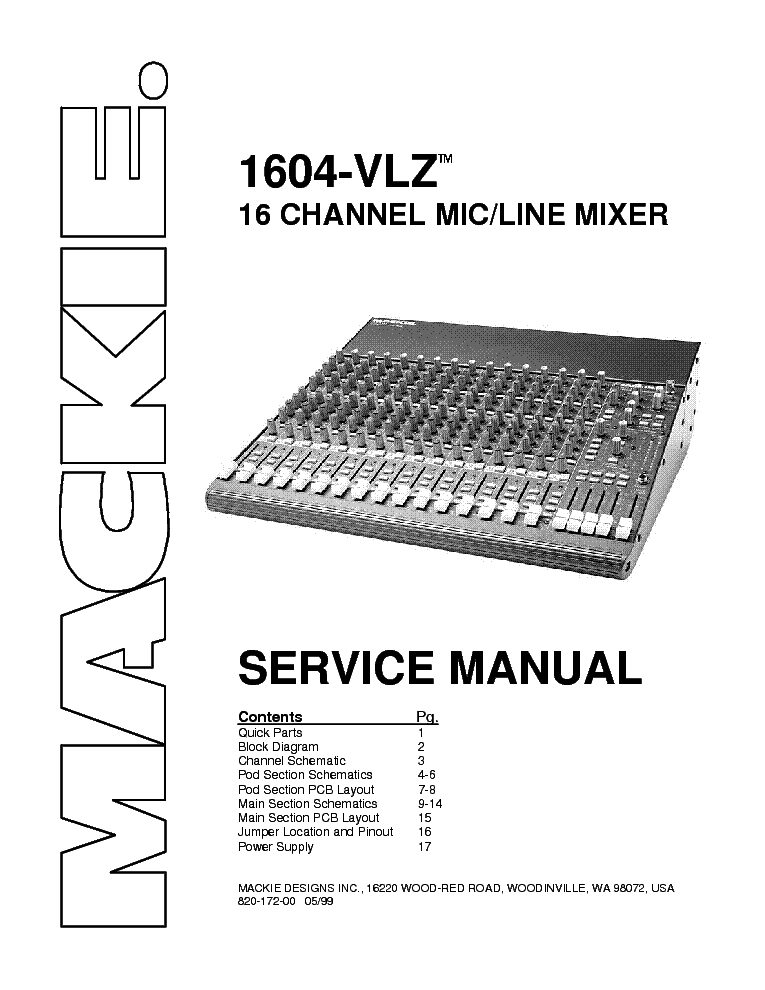 MACKIE 1604-VLZS SM service manual (1st page)