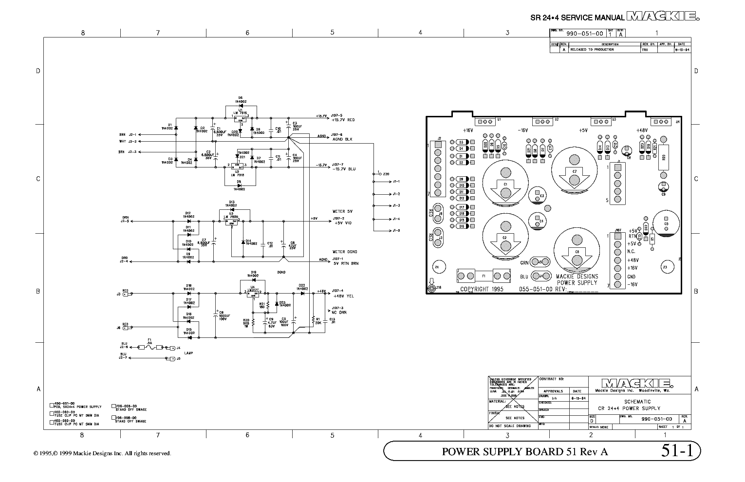 MACKIE POWER SUPPLY 51A SCH service manual (1st page)
