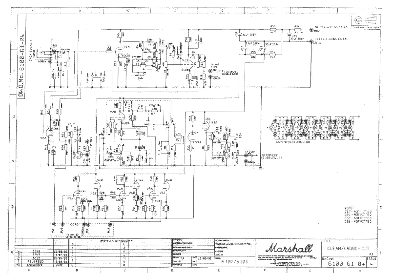 marshall 30aniv 6100 100w service manual download  schematics  eeprom  repair info for Marshall 6101 Marshall 6100 30th Anniversary