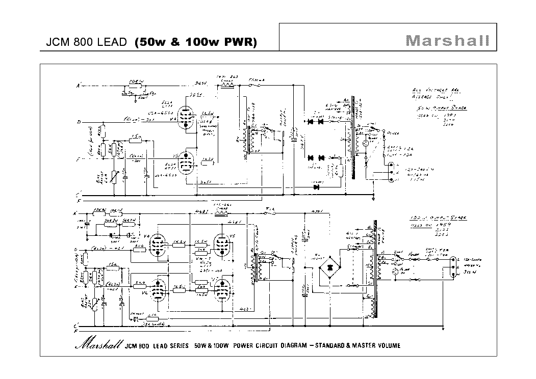 Marshall has now become a household name throughout the world as a... Schematic diagram of JCM 800 Lead.