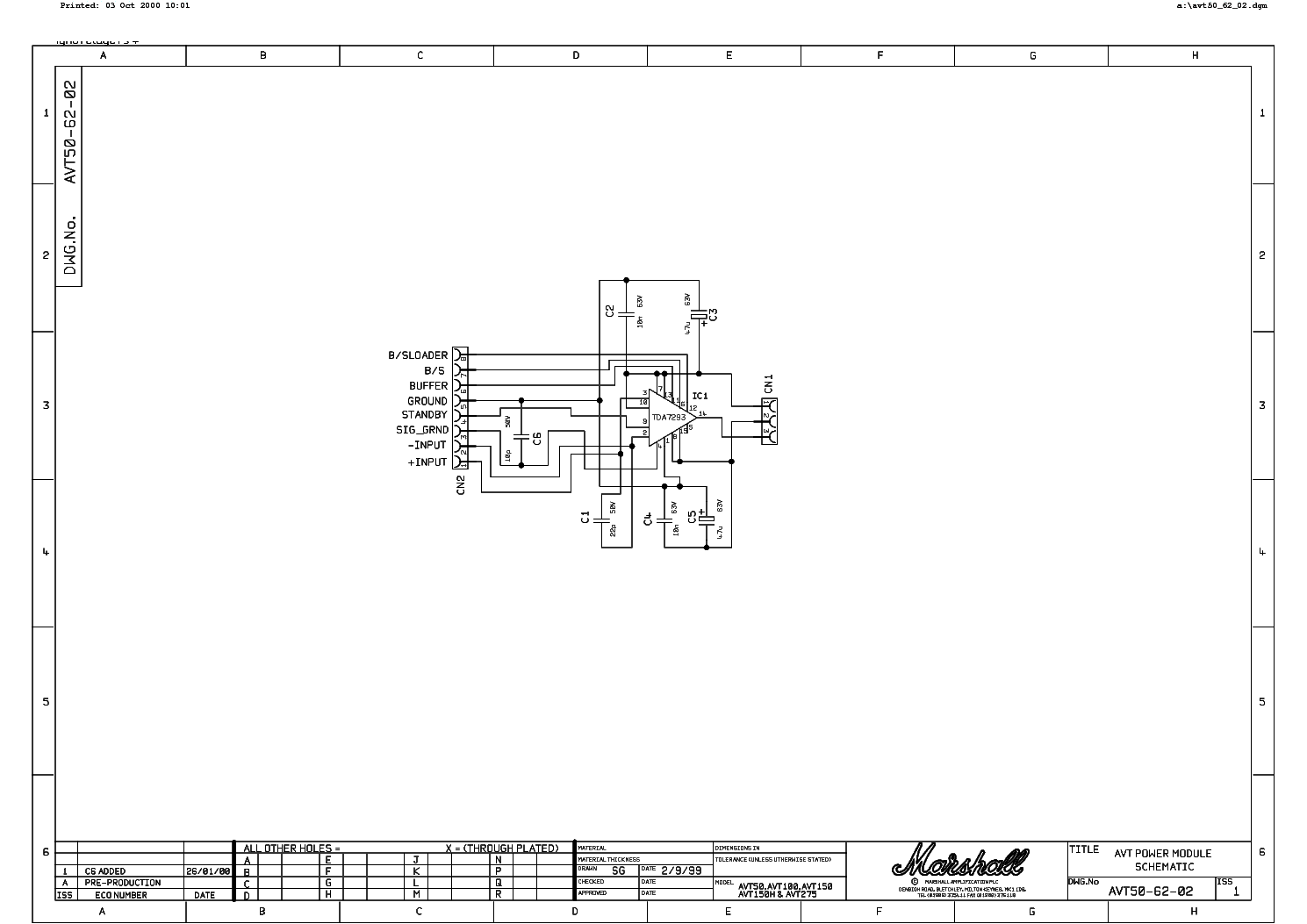 Marshall Avt50 Avt100 Avt150 Avt150h Avt275 Module Sch