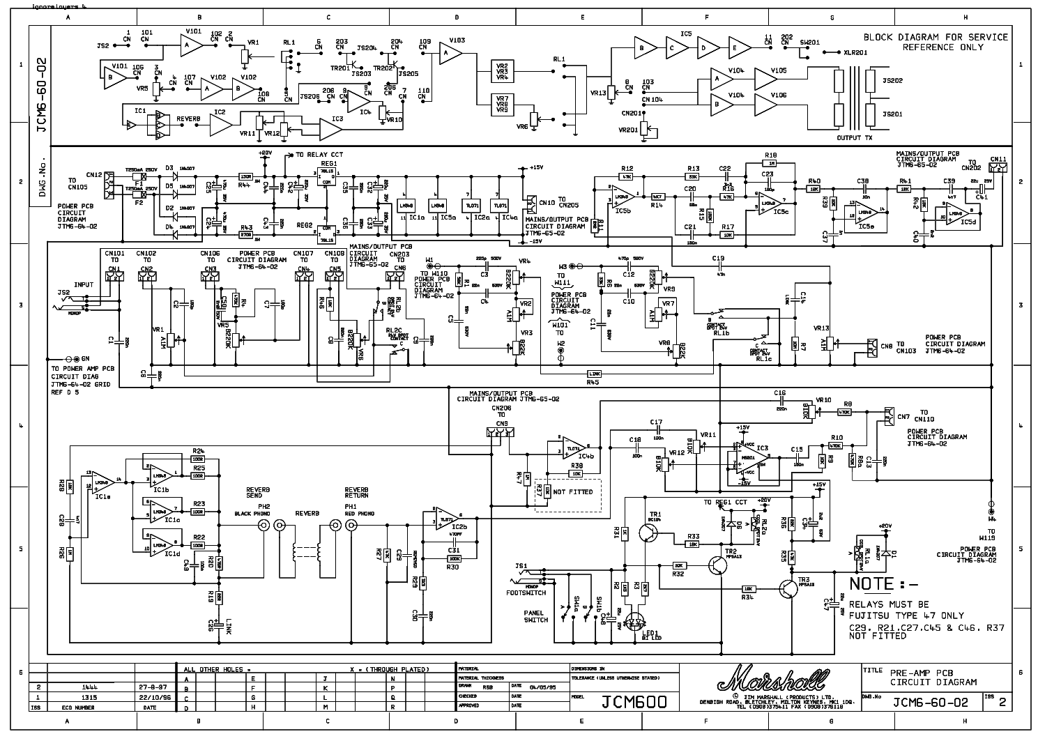 Marshall Jcm600 Sch Service Manual Download  Schematics