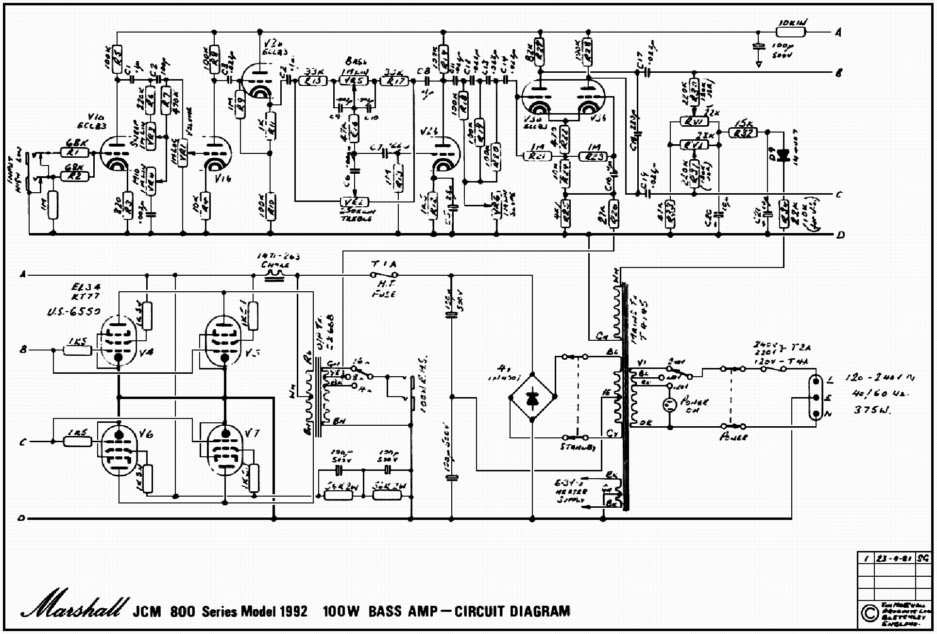 Jcm 800 Bass Series Schematic Black Swan Plot Meaning Marshall Plexi Wiring Diagram It Isnt Clear If These Amps Were Actually Part Of The Jcm800 Schematics 2001 375w Head Pre Amp 100w Limited Edition