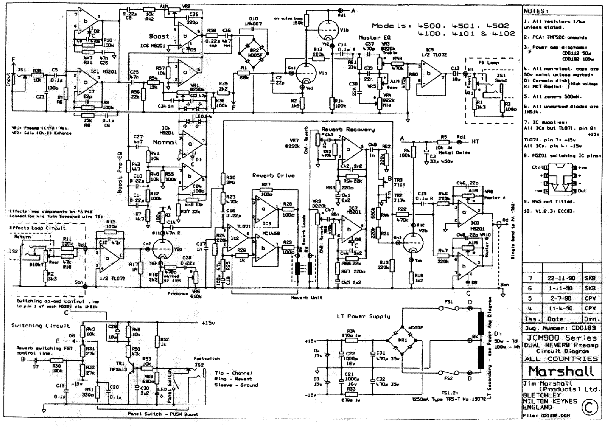marshall jcm900 dual reverb preamp sch service manual download  schematics  eeprom  repair info