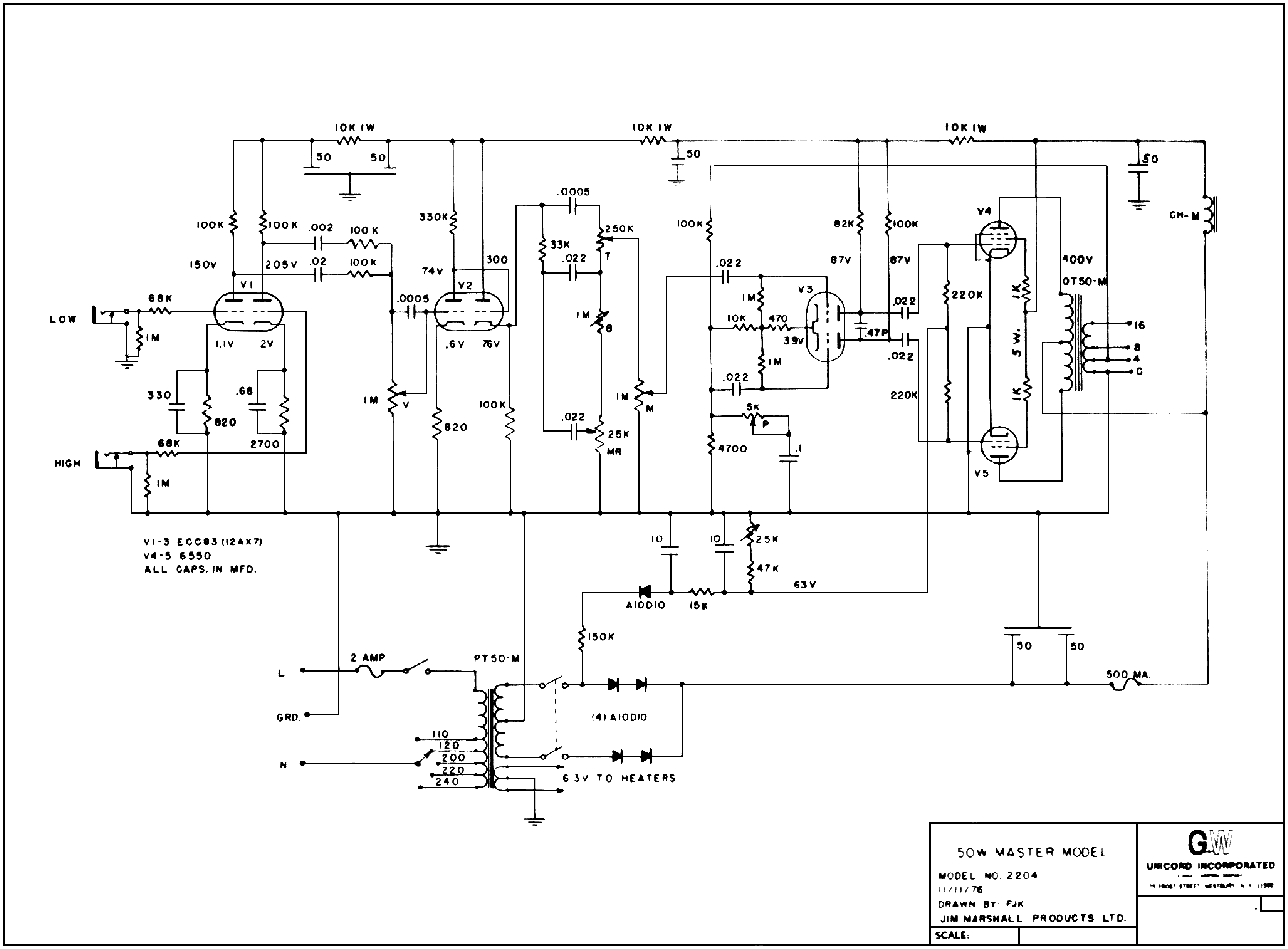 MARSHALL JMP-2204 Service Manual download, schematics