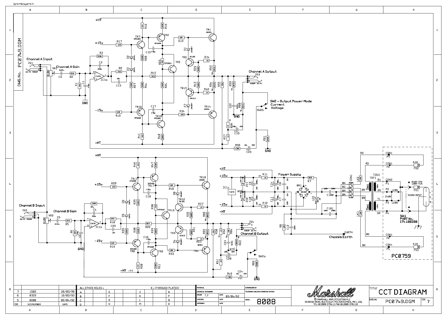 Marshall 8080 8100 Valvestate Pc0689 Sch Service Manual Download  Schematics  Eeprom  Repair