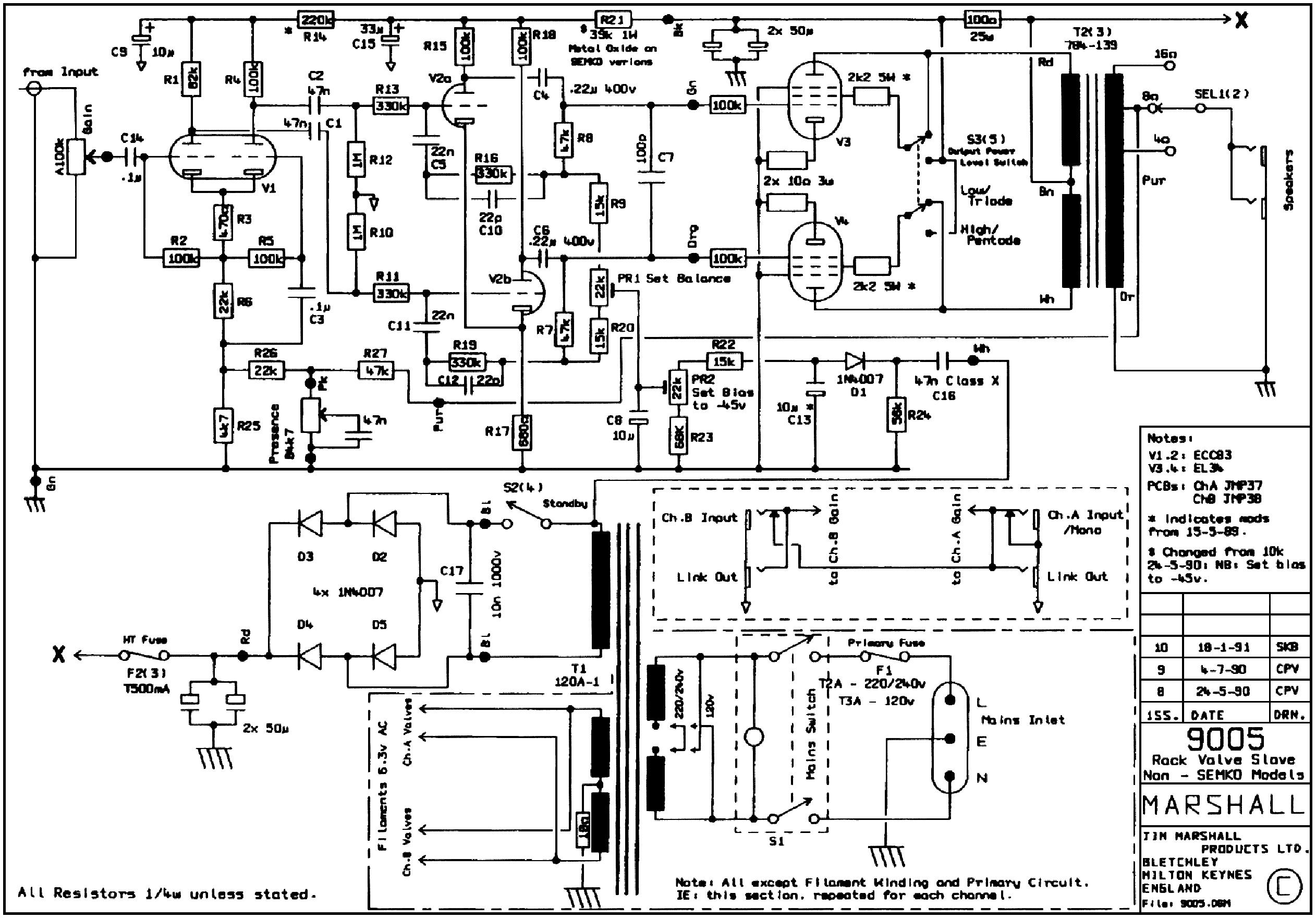 marshall rackmount poweramp 9005 sch service manual