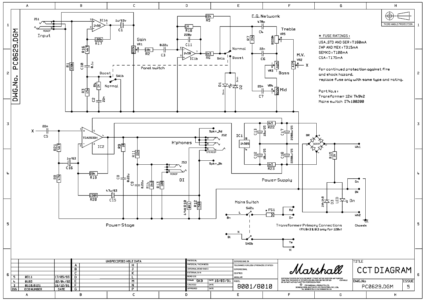 Marshall Valvestate10 10w 8001 8010 Service Manual