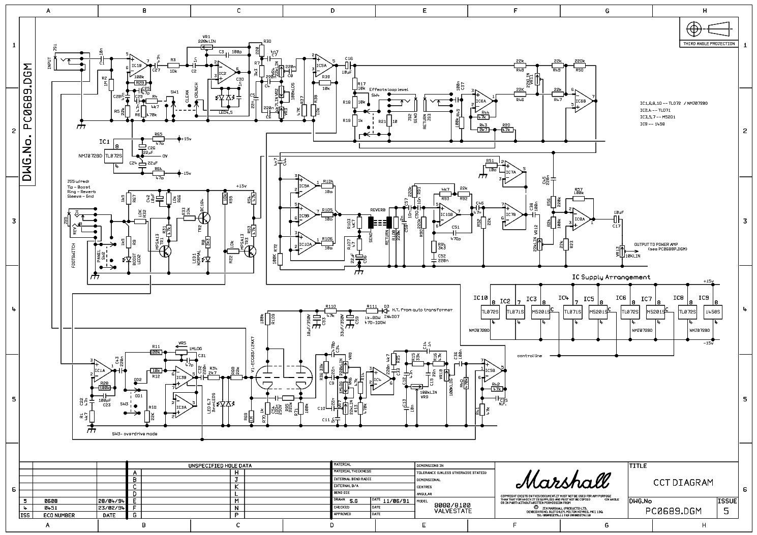 Marshall Valvestate80 80w 8080 8100 8412 Service Manual