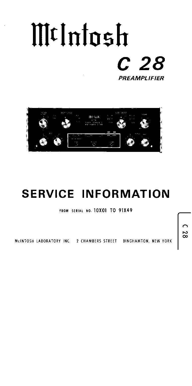 Mcintosh C28 Preamplifier Service Manual Download