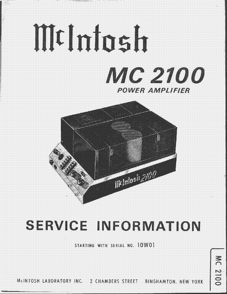 mcintosh mc2100 service manual