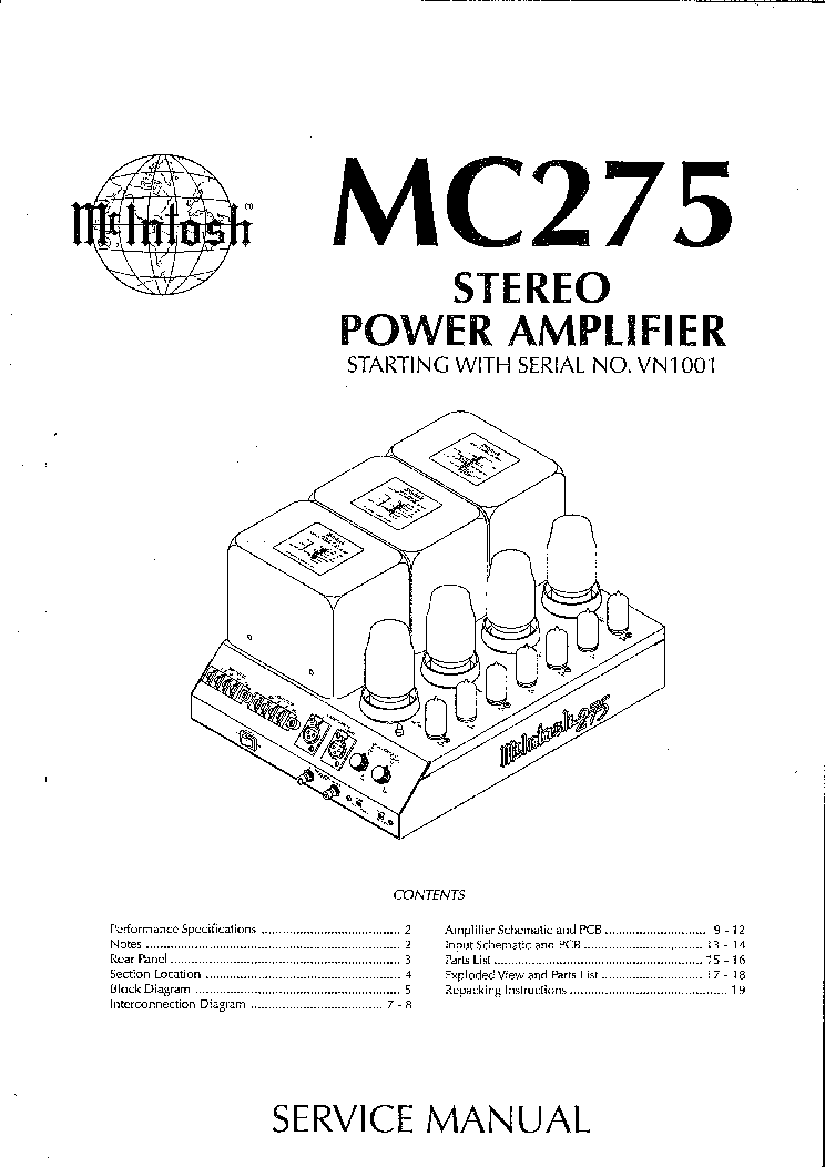 Mcintosh Mc275 Mk4 Tube Power Amplifier Sm Service Manual Download  Schematics  Eeprom  Repair