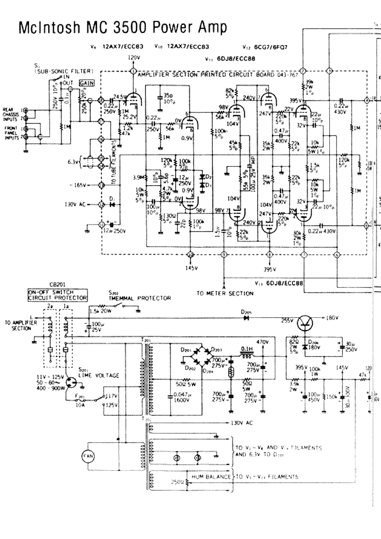 Mcintosh Mc3500 Sch Service Manual Download  Schematics