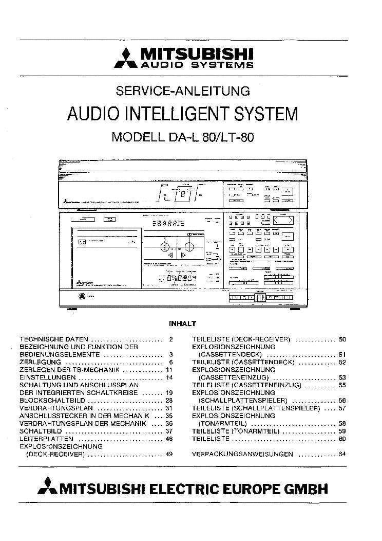 MITSUBISHI DAL80 DE SM Service Manual download, schematics, eeprom ...
