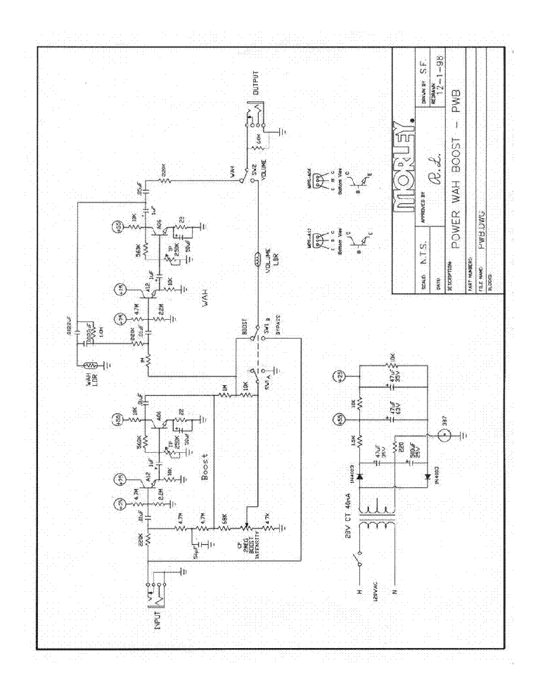 Morley Pwb Power Wah Boost Sch Service Manual Download  Schematics  Eeprom  Repair Info For