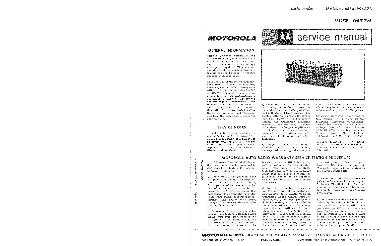 MOTOROLA TM-317M AUTORADIO 1967 SM service manual (1st page)