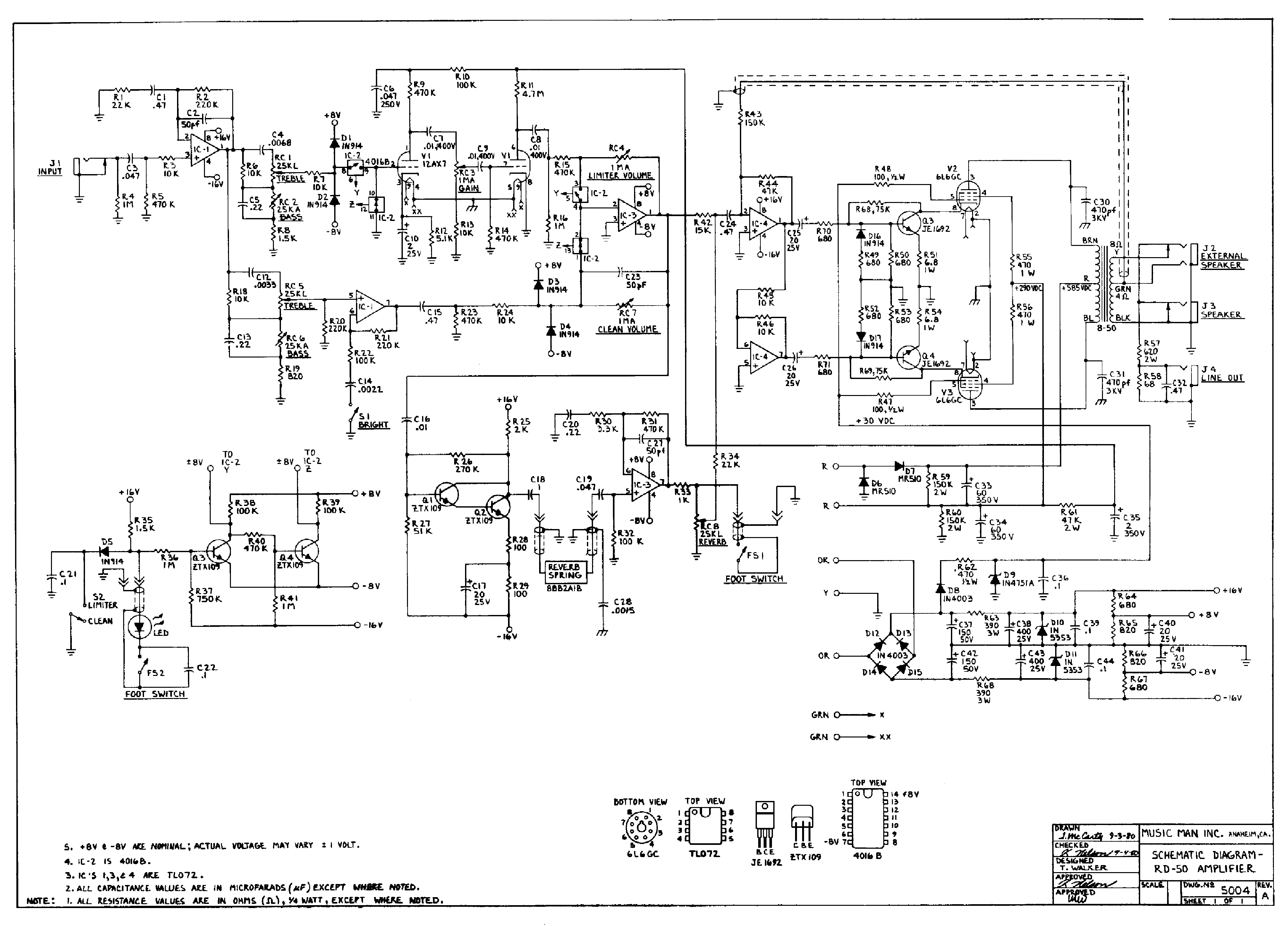 MUSIC MAN RD50A AMPLIFIER 1980 SCH Service Manual download