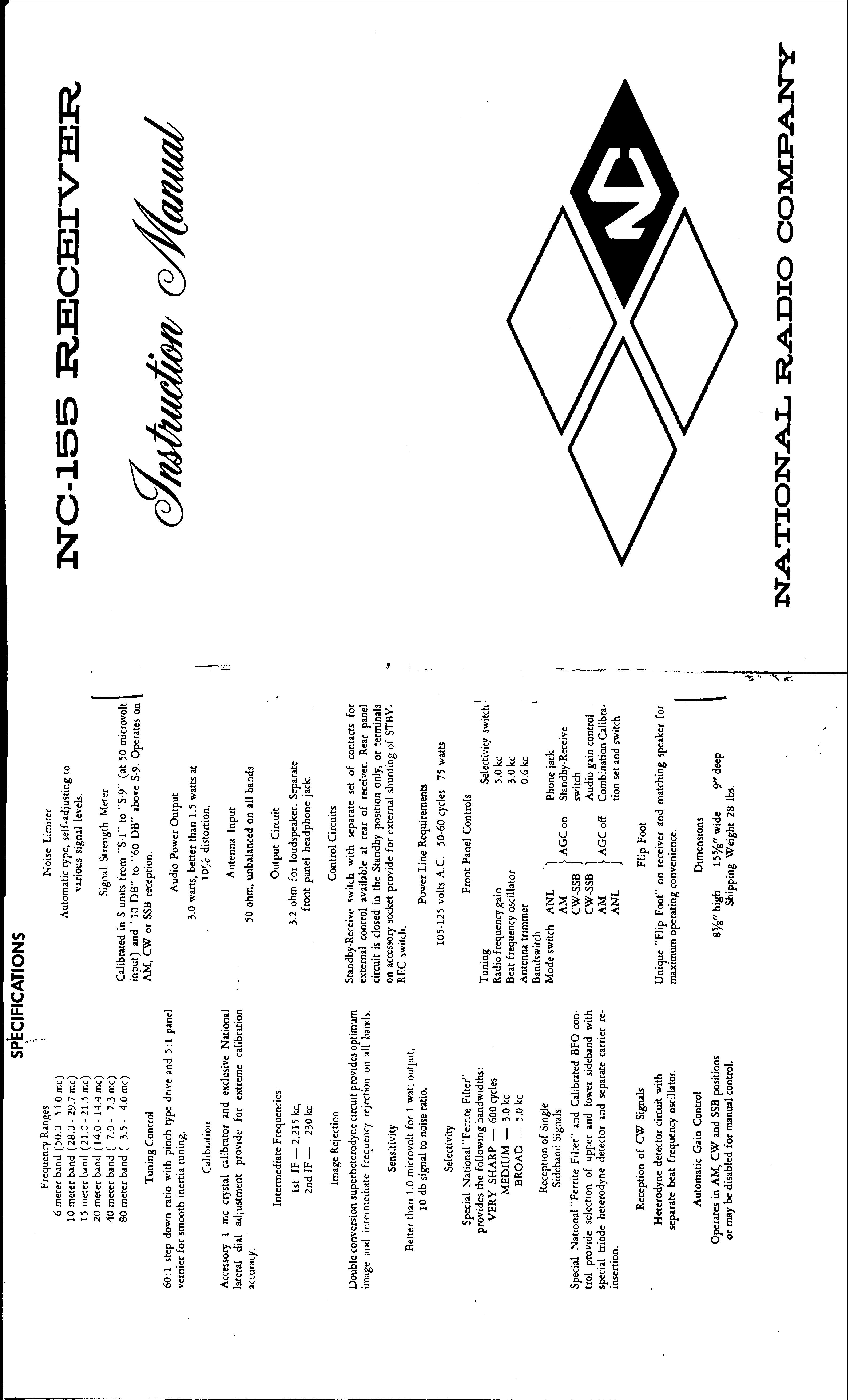 NATIONAL NC-155 RECEIVER Service Manual download, schematics, eeprom