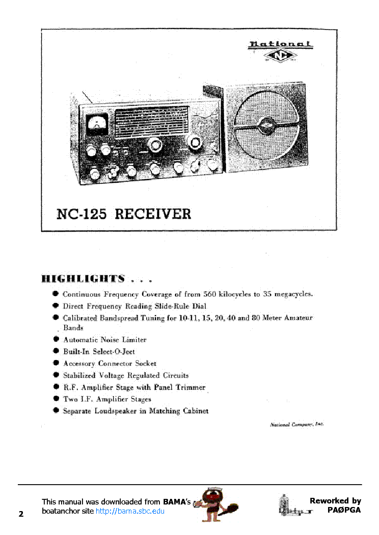 NATIONAL NC125 RECEIVER Service Manual download, schematics, eeprom on