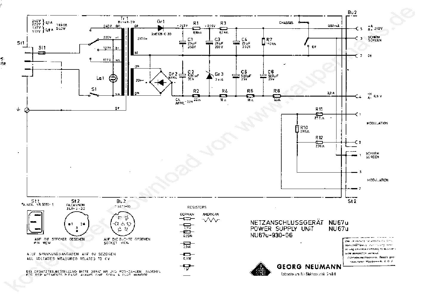 NEUMANN KONDENSATOR MIKROFON NETZGERA T NU 67 Service Manual ...
