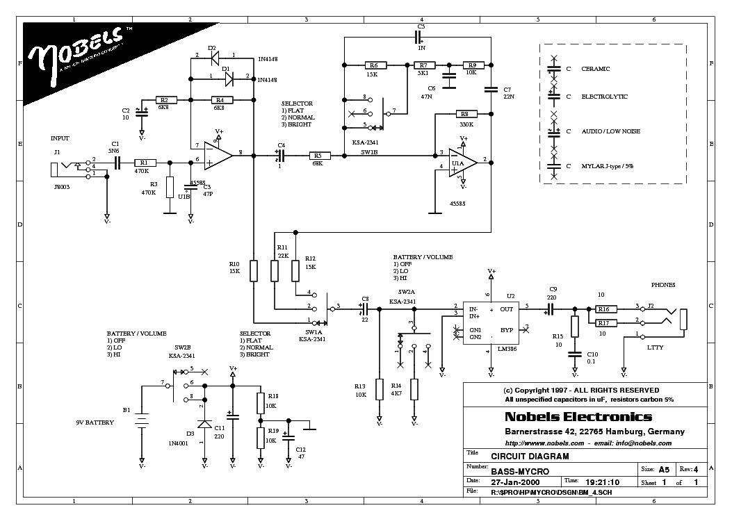 Nobels Bass Mycro Bassguit Preamp Sch Service Manual