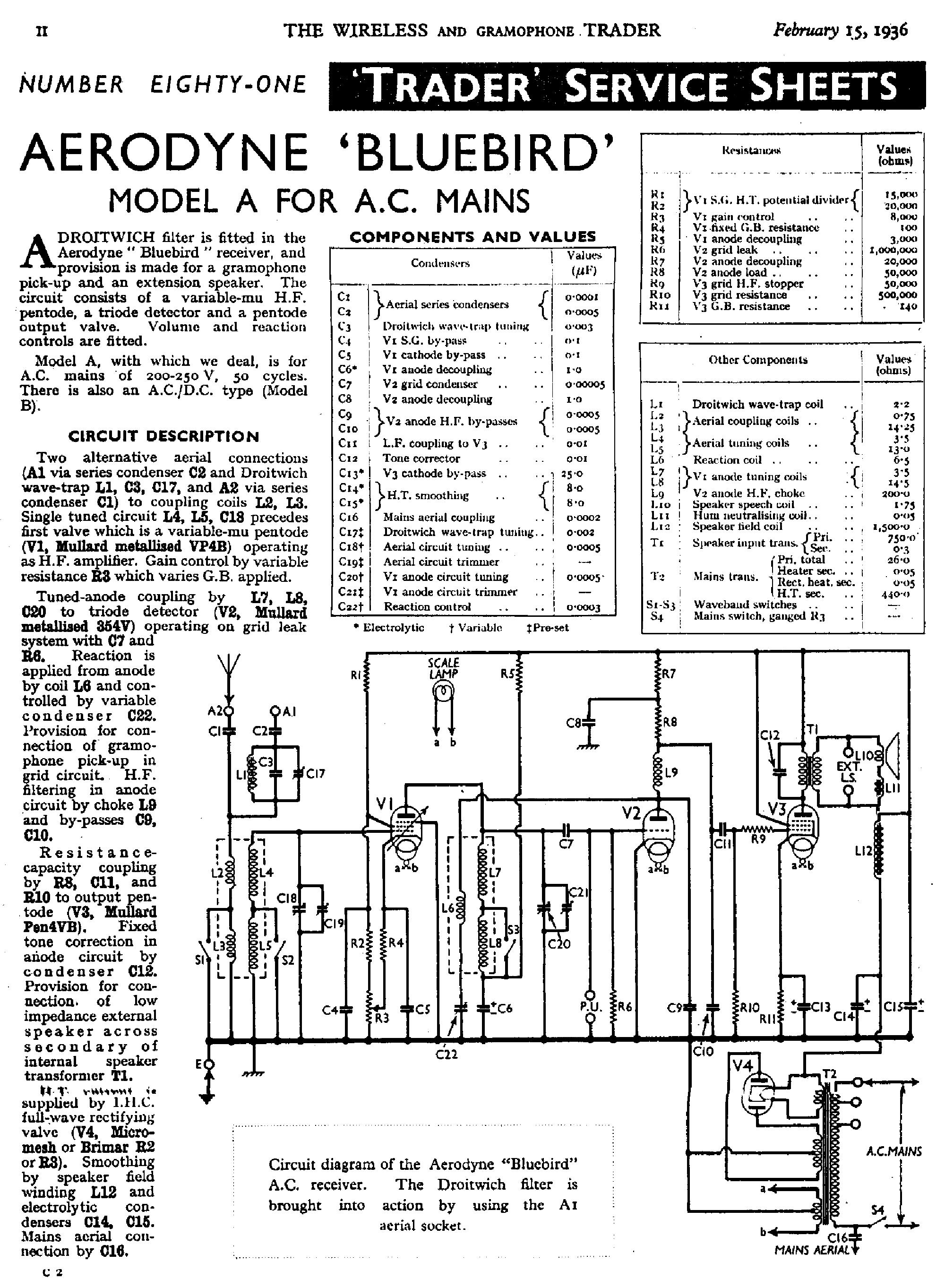 AERODYNE BLUEBIRD RADIO 1936 SM Service Manual download, schematics ...