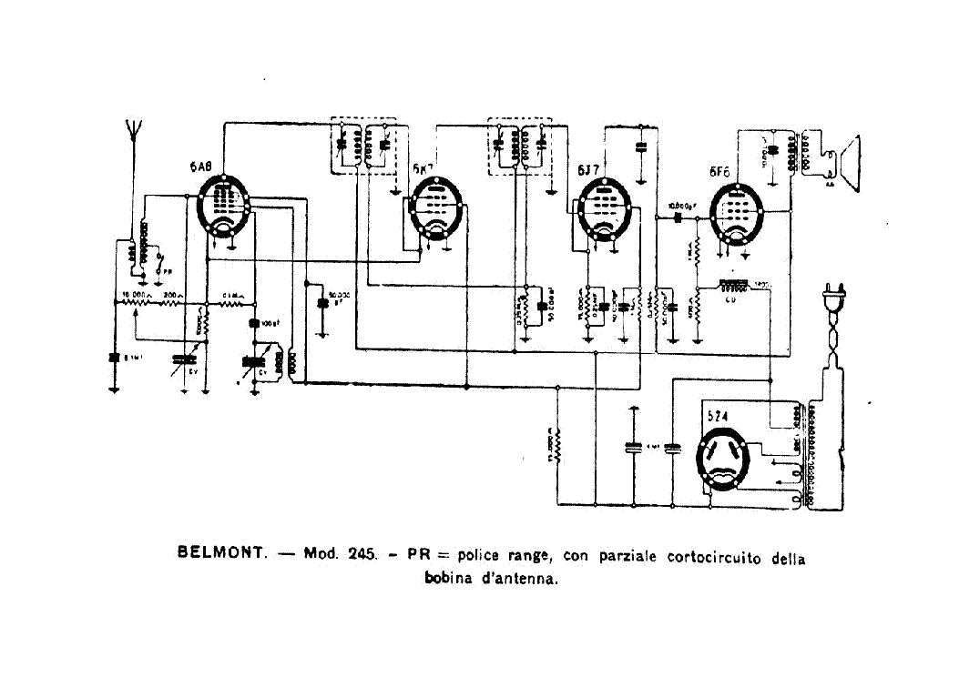BELMONT 245 AM RADIO RECEIVER SCH service manual (1st page)