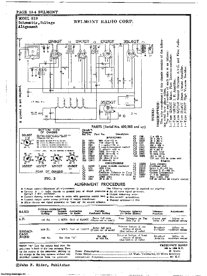 BELMONT RADIO CORP. 519 SCH service manual (2nd page)