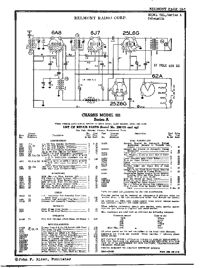 BELMONT RADIO CORP. 521 SCH service manual (2nd page)