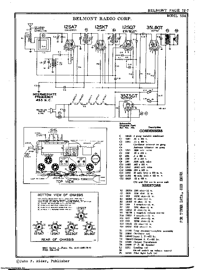 BELMONT RADIO CORP. 534 SCH service manual (2nd page)