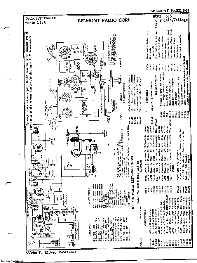 BELMONT RADIO CORP. 555 SCH service manual (2nd page)