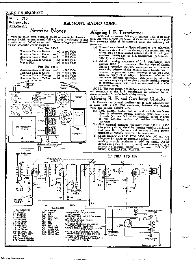 BELMONT RADIO CORP. 576 SCH service manual (2nd page)