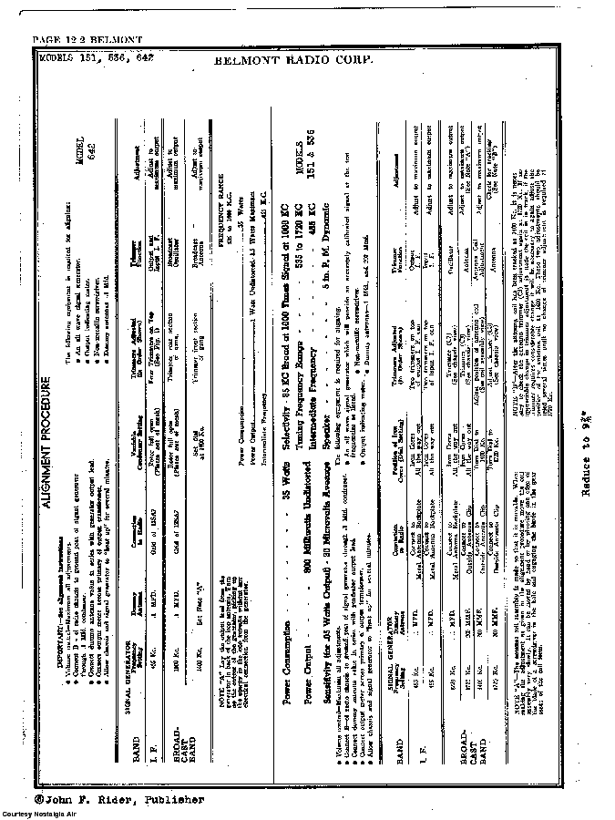 BELMONT RADIO CORP. 642 SCH service manual (2nd page)