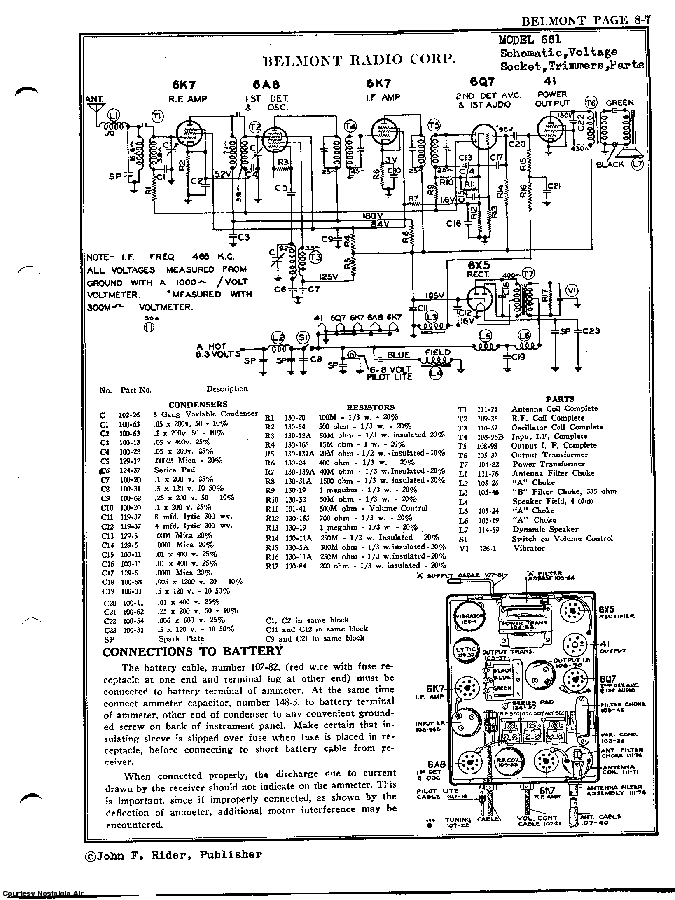 BELMONT RADIO CORP. 661 SCH service manual (2nd page)