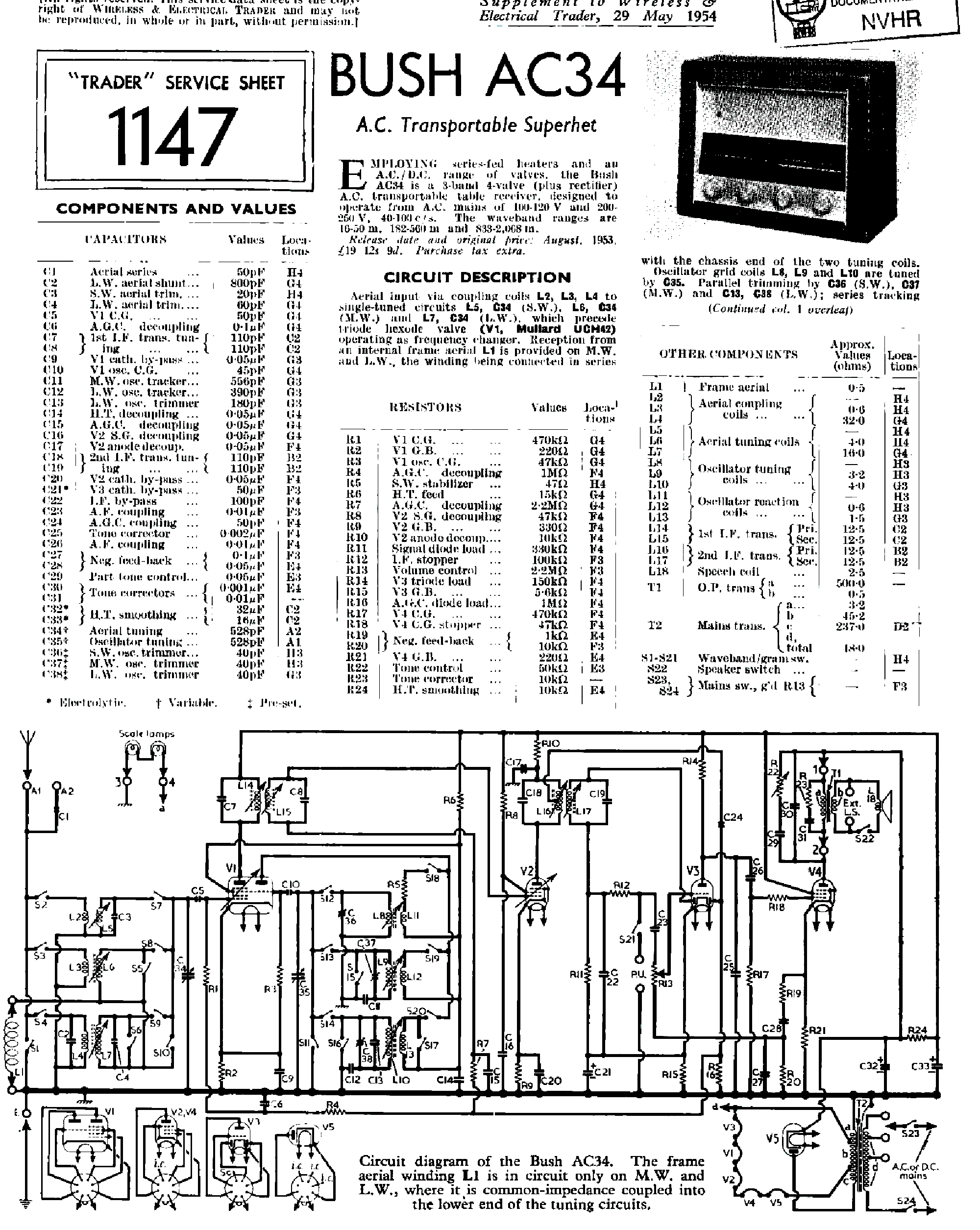 bush ac34 receiver 1954 sm service manual download schematics rh elektrotanya com bush washing machine repair manual bush a126q repair manual