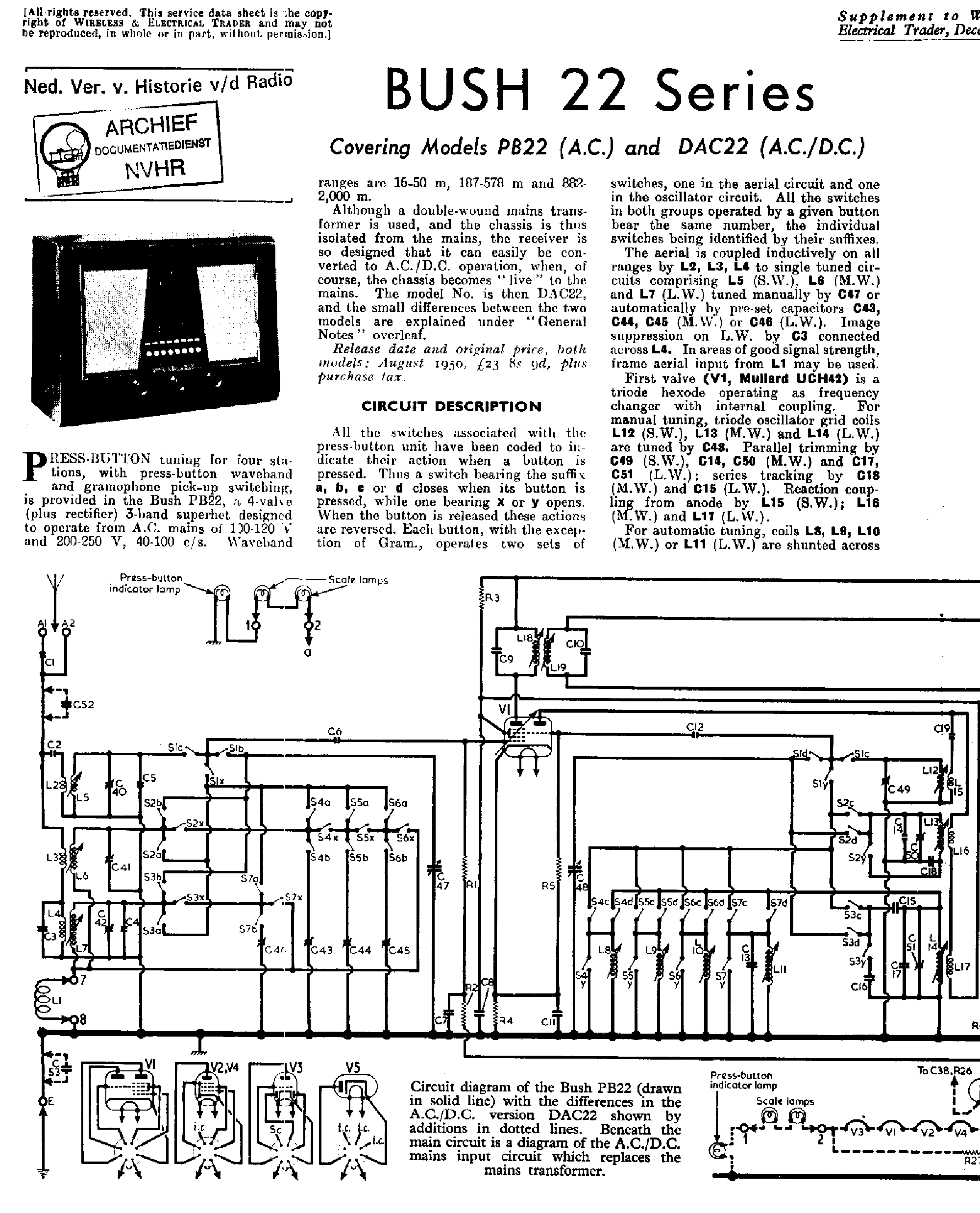 bush dac22 pb22 receiver 1950 sm service manual download schematics rh elektrotanya com bush hog th4400 repair manual bush tv repair manual